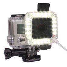 Andoer USB 20 LED عمل عدسة الكاميرا حلقة اطلاق النار نايتشوت فلاش ملء ضوء مصباح ل GoPro بطل 4 3 3 مثبت مضاد للماء