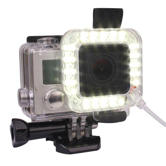 Andoer usb 20 led 액션 카메라 렌즈 링 슈팅 nightshot 플래시 필 라이트 램프 gopro hero 4 3 + 3 방수 하우징 케이스