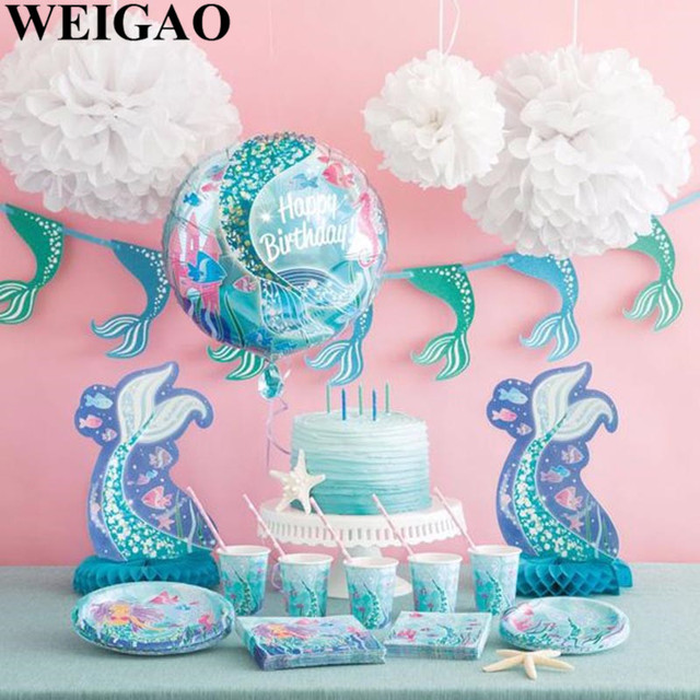 WEIGAO DIY Mermaid Party Decoration Kids Birthday Balloons 1st Disposable Tableware Set Hat