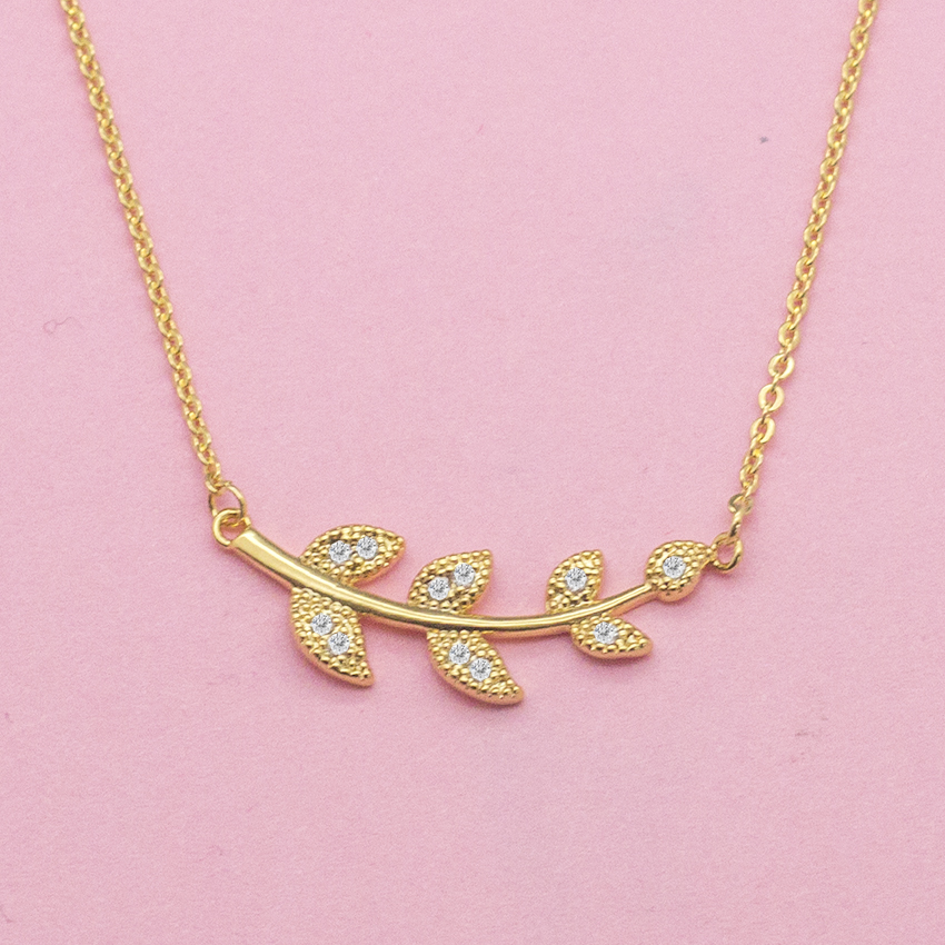 Wholesale 10pcslot Delicate CZ Tree Leaf Necklace Women Bff Gift Crystal Jewelry Gold Color Ketting Plant Maxi Colar Feminino
