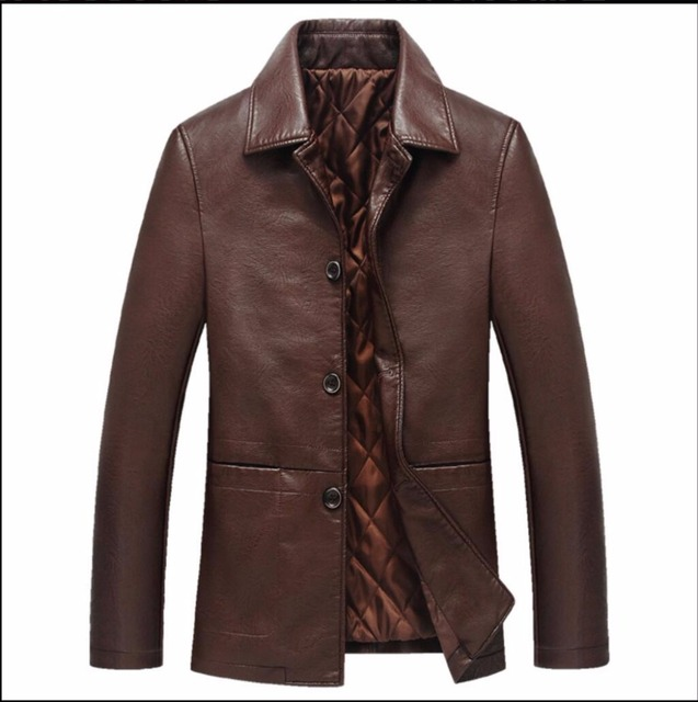 S-3XL NEW autumn and winter leather jacket sheepskin leather clothing stand collar single breasted plus cotton casual coats