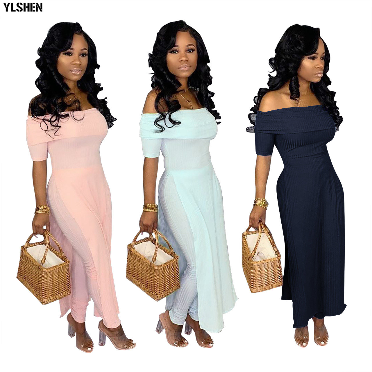 2019 African Jumpsuit Sexy Off-shoulder Split Jumpsuits Dashiki African Dresses For Women New Bazin Riche African Clothes Pants