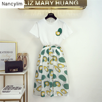 2019 Summer New Female Avocado Printed T Shirt + High Waist Package Hip Skirt Two Pieces Girls Lady Holiday Skirts Set Nancylim