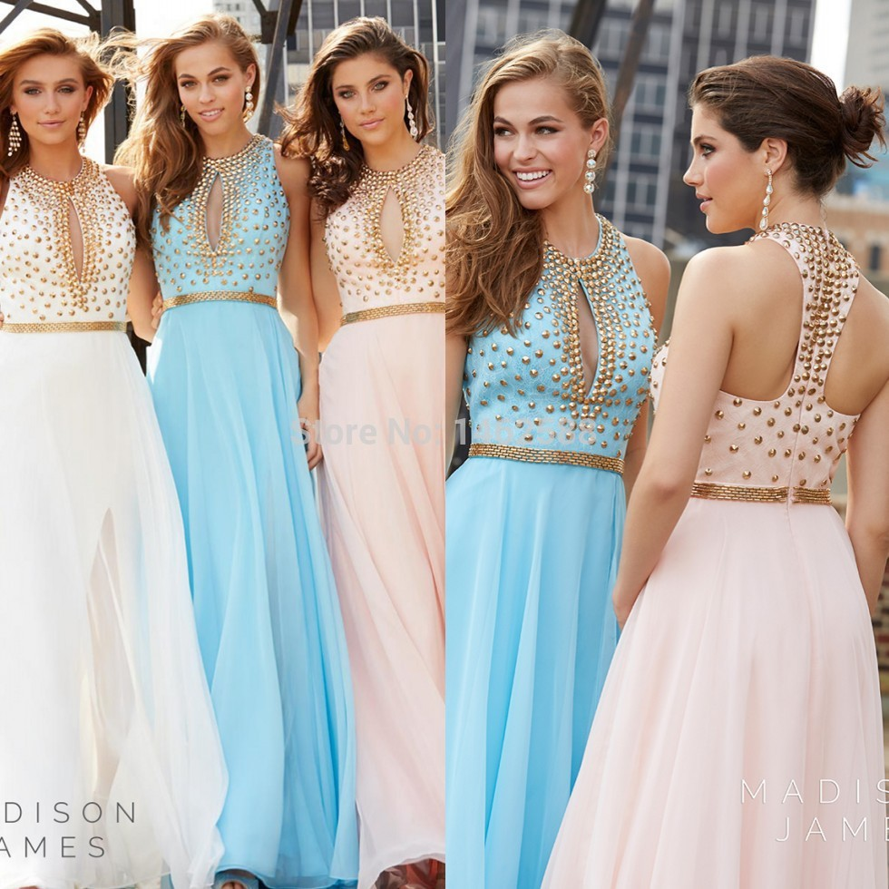 Sparkly Golden Beaded High Neck Open Back White Blue Pink Prom ...