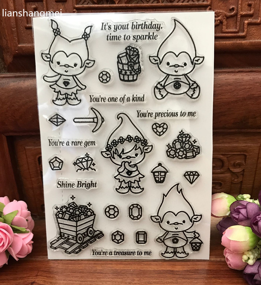 Cute Spirit Transparent Clear Silicone Stamp/Seal for DIY scrapbooking/photo album Decorative clear stamp sheets lovely animals and ballon design transparent clear silicone stamp for diy scrapbooking photo album clear stamp cl 278