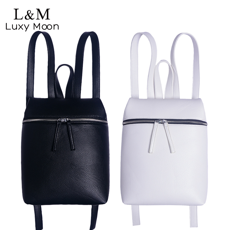 f9fd8199b3ad Detail Feedback Questions about Simple Style Designer Women Backpack White  and Black Lady Travel PU Leather Backpacks Fashion Female Rucksack bag  Mochila ...