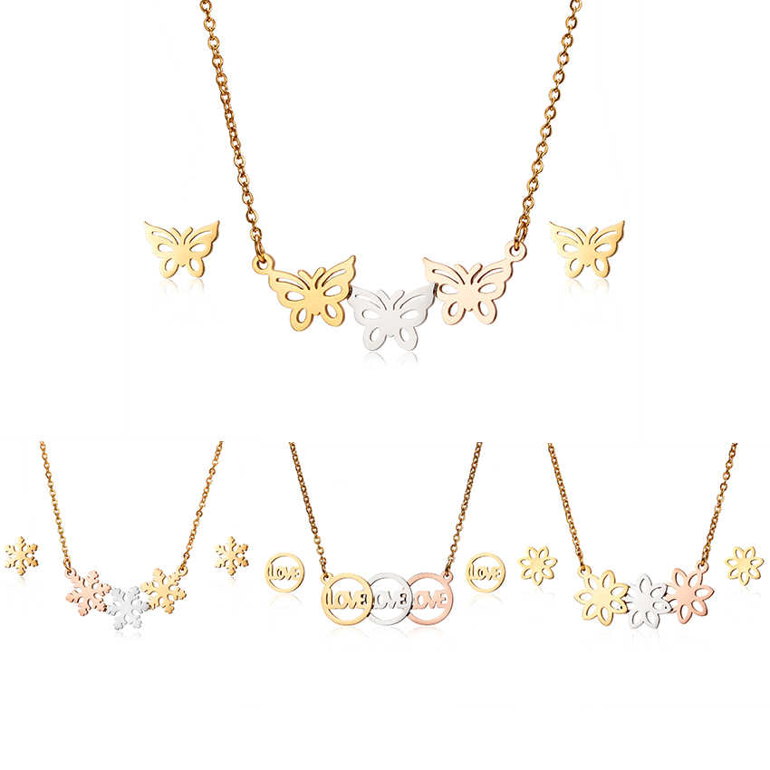 Fashion Hollow Stainless Steel Animal Necklace Jewelry Set Cute Heart Butterfly Flower Pendant Necklaces Earrings For Girls Gift