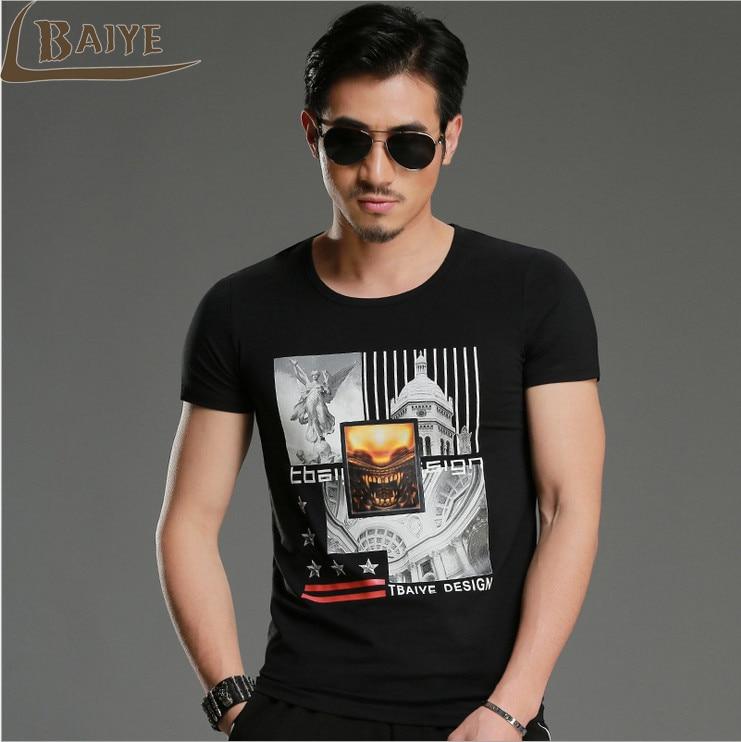TBAIYE 2017 New Fashion Print T shirt Men Luxury Brand Slim M 4XL Cotton T shirt