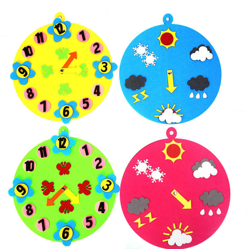 Развивающие Игрушки для раннего обучения, часы, время, погода, метеостанция, нетканый войлок, детские игрушки, подарок