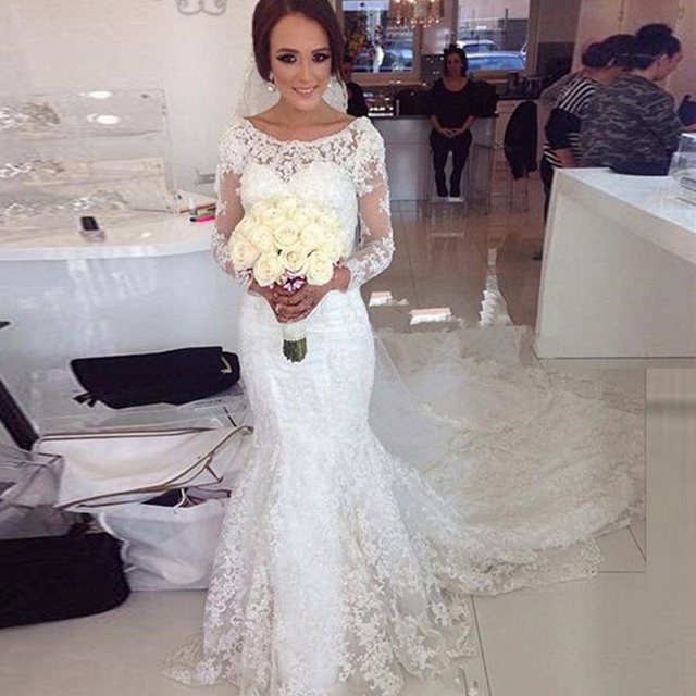 Robe De Marriage New Graceful Long Sleeve Bridal Gowns Sheath ...
