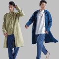 New Men Trench Coat Windbreaker Men 100% Linen Long Coat Men China Style Kung Fu Jacket Solid Color Cardigan Overcoat Q396