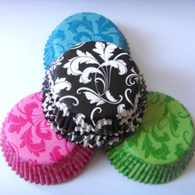 Прямая 50x черный/синий/зеленый/розовый/красный/фиолетовый дамасский цветок Свадебный кекс Лайнер Маффин форма для выпечки формочка-обертка для торта