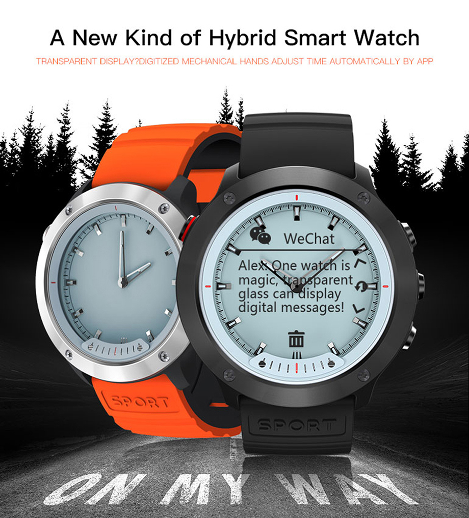 New M5 Hybrid Smart Watch IP68 Waterproof Transparent Screen Smart Band Heart Rate Monitor Smart Wristband