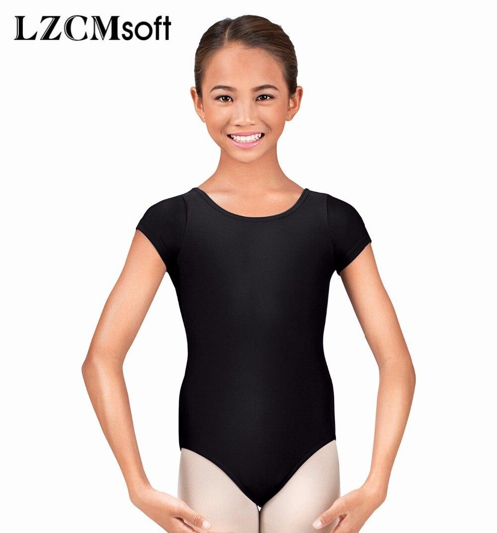 LZCMsoft Black Short Sleeve Leotards for Girls Ballet Tights Lycra Spandex Dance Leotards Team Gym Suits Variety Of Colors