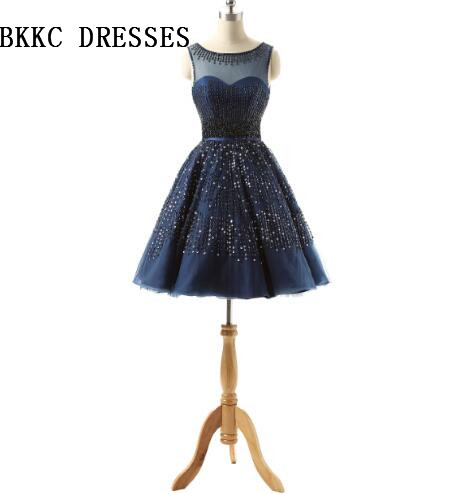 Navy Blue Homecoming Dresses With Beaded Crystal Vestidos Curtos Special  Occasion Dresses 453fe27f9be0
