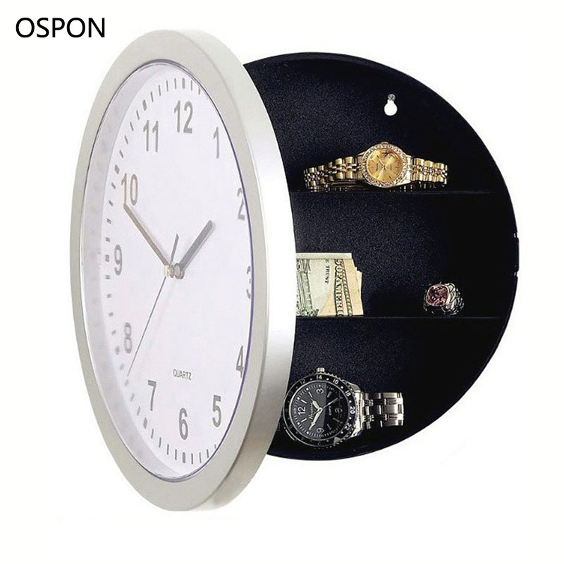 OSPON Wall Clock Safe Box Creative Hidden Secret Storage Box for Cash Money Jewelry Storage Home Office Security Safes giantree portable money box 6 compartments coin steel petty cash security locking safe box password strong metal for home school