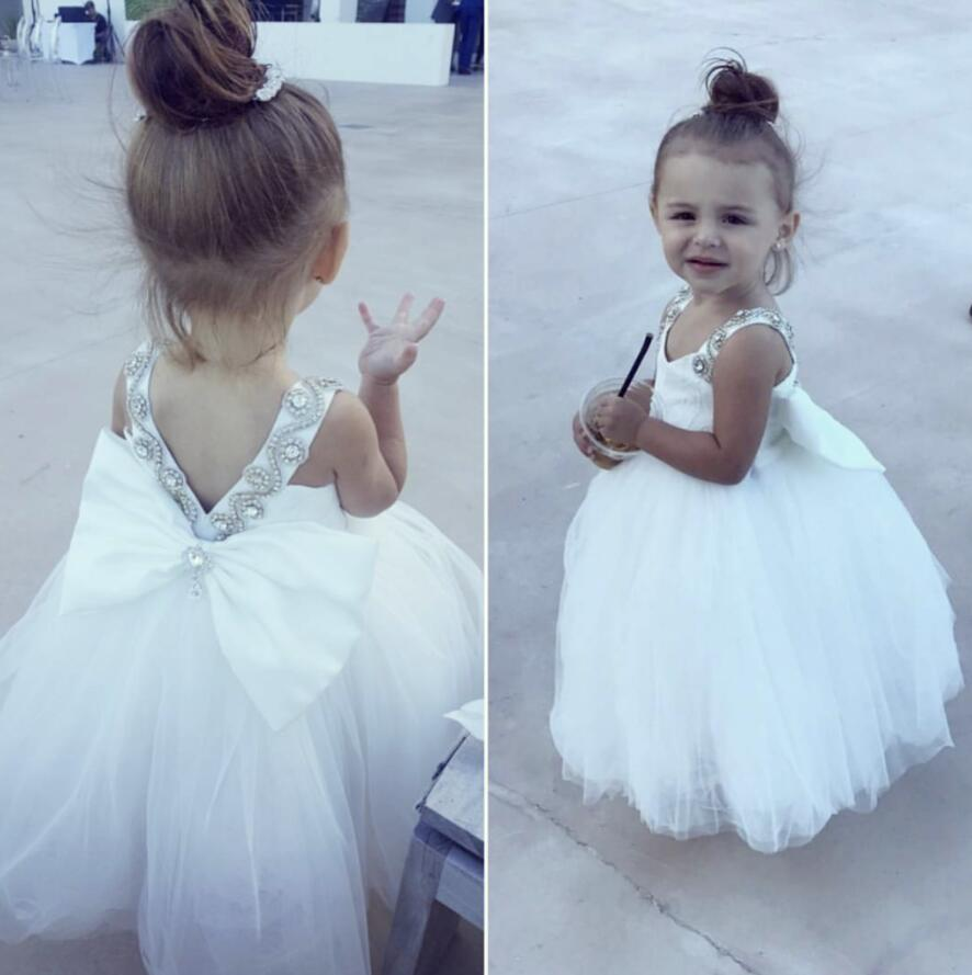 White sparkly jewel rhinestones flower girl dress sweetheart princess graduation tutu outfit for wedding and birthday tea partyWhite sparkly jewel rhinestones flower girl dress sweetheart princess graduation tutu outfit for wedding and birthday tea party