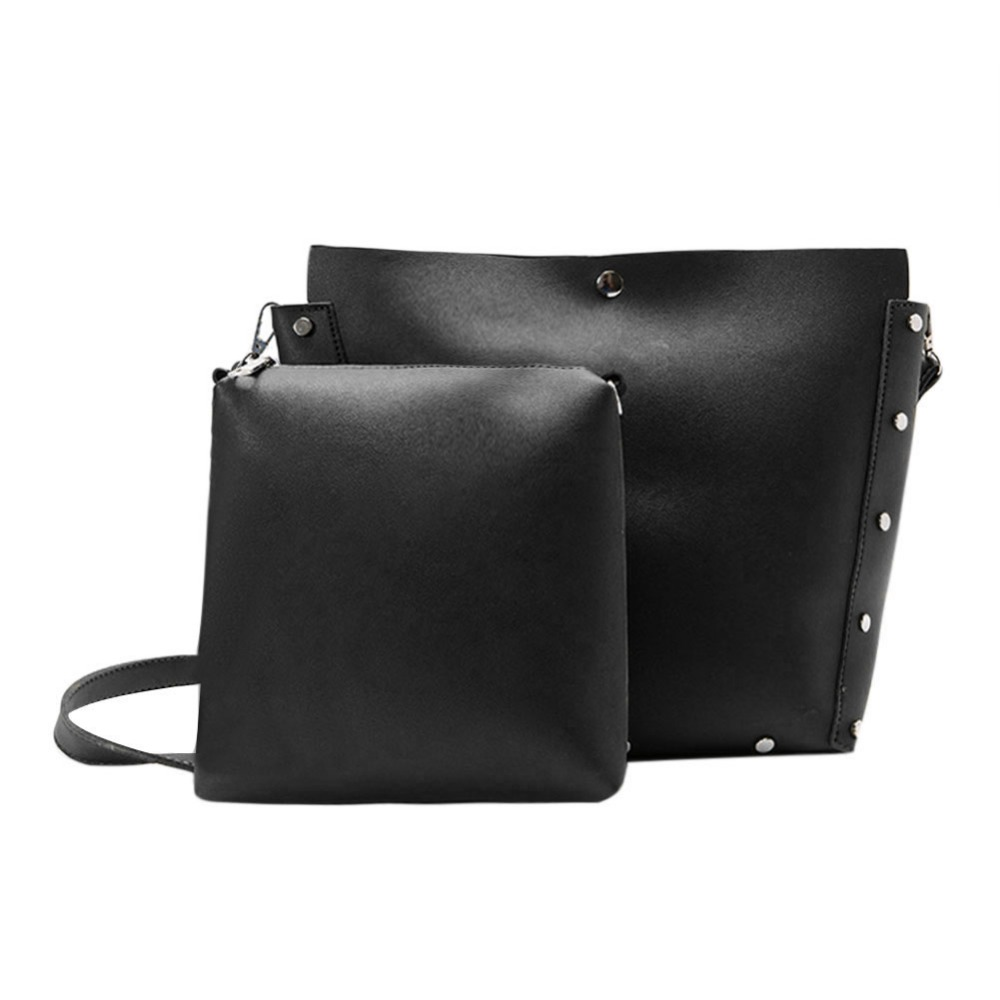 2Pcs Casual Women Leather Handbag PU Shoulder Crossbody Bag Rivet Clutch Casual Tote Big Hobos School Bags For Teenage Girls