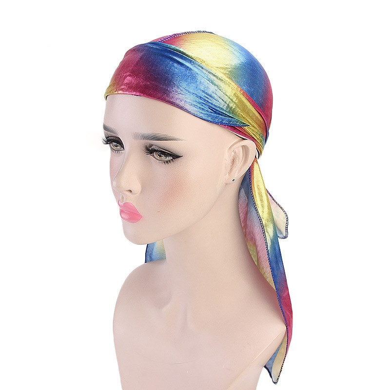 Free shipping <font><b>Men</b></font>/Women <font><b>Silk</b></font> Laser Polyester Bandana Hat <font><b>Durag</b></font> Rag Tail Headwrap Headwear Gift Hair Accessories image