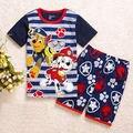 2016 Verão meninos Roupas Dos Desenhos Animados Crianças Ternos Top de Chiffon T shirt + Calças curtas 2 PCS Boutique Curto Roupas de Bebê menino st021