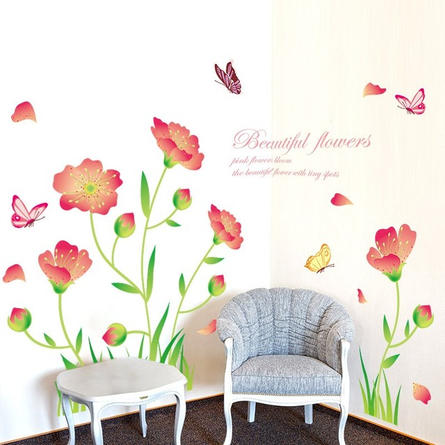 XL8163 Flower Butterfly Wall Stickers Home Decor Removable DIY ...