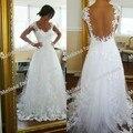 Мыс рукава-Линия рукавов тюль и кружева длина пола sheer вернуться sexy свадебные платья свадебные платья 2016