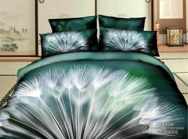 Linnen Dekbed Slaapkamer : 3d blauw groen paardebloem print beddengoed set queen size