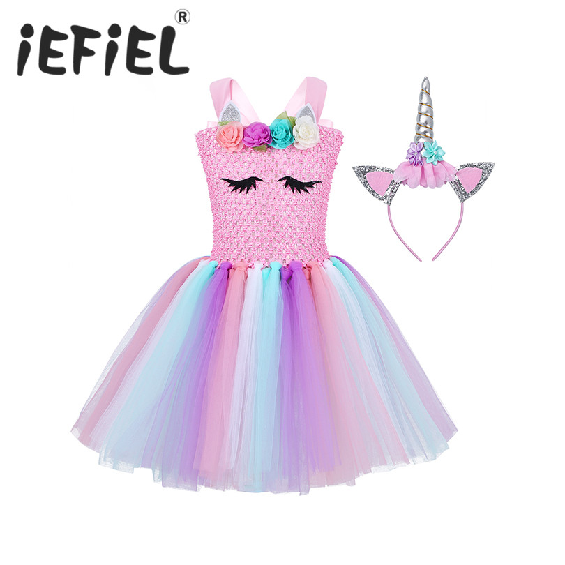 Kid Girls Children Princess Dresses Girls Cosplay Dress Up Costume Kids Party Tutu Halloween Dress Fancy Party Carnival Clothes