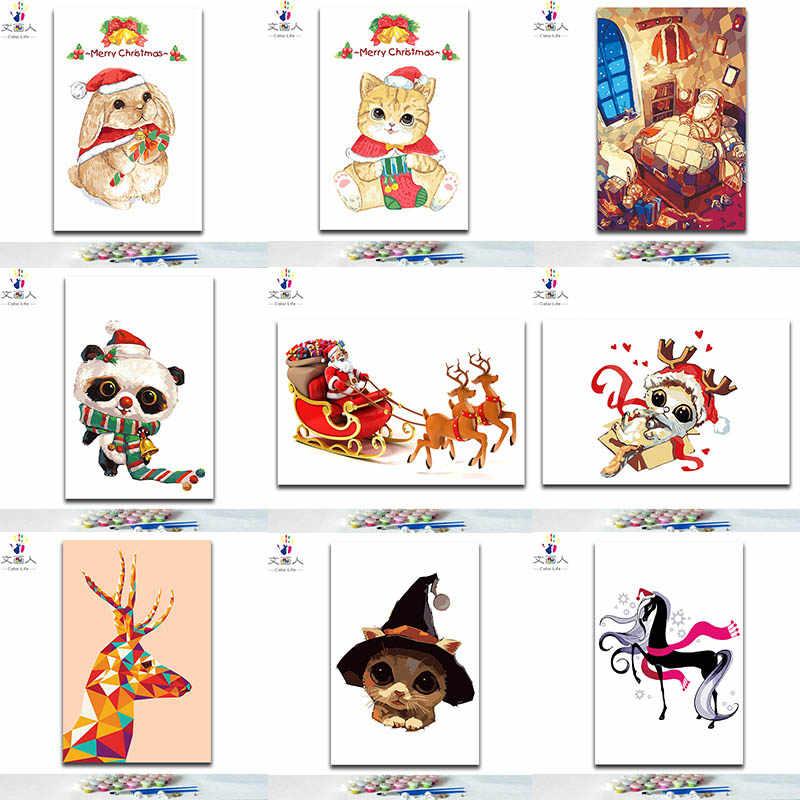 Diy Boyama Resim Boya By Numbers Renkler Ile Noel Yeni Yil