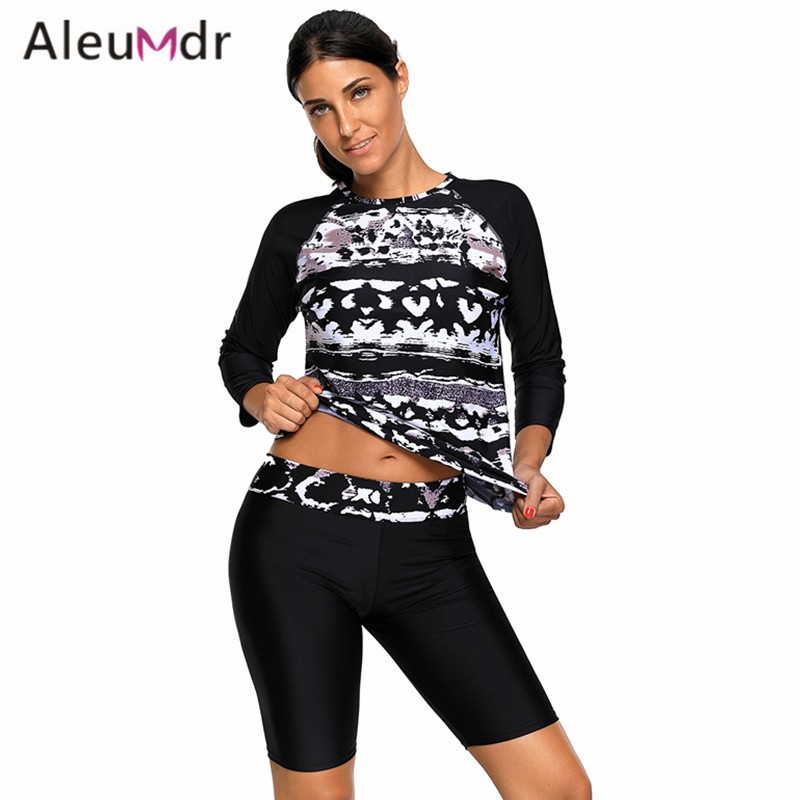 Aleumdr Two Piece Swimsuit For Women Black Monochrome Abstract Print Long Sleeve Wetsuit Woman LC410484 Traje De Bano Mujer men abstract print button plain jumpsuit