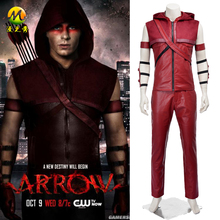 Red Arrow Roy Harpe Cosplay Costume Hoodie Leather Men Sleeveless Set for Halloween Party Full Suit