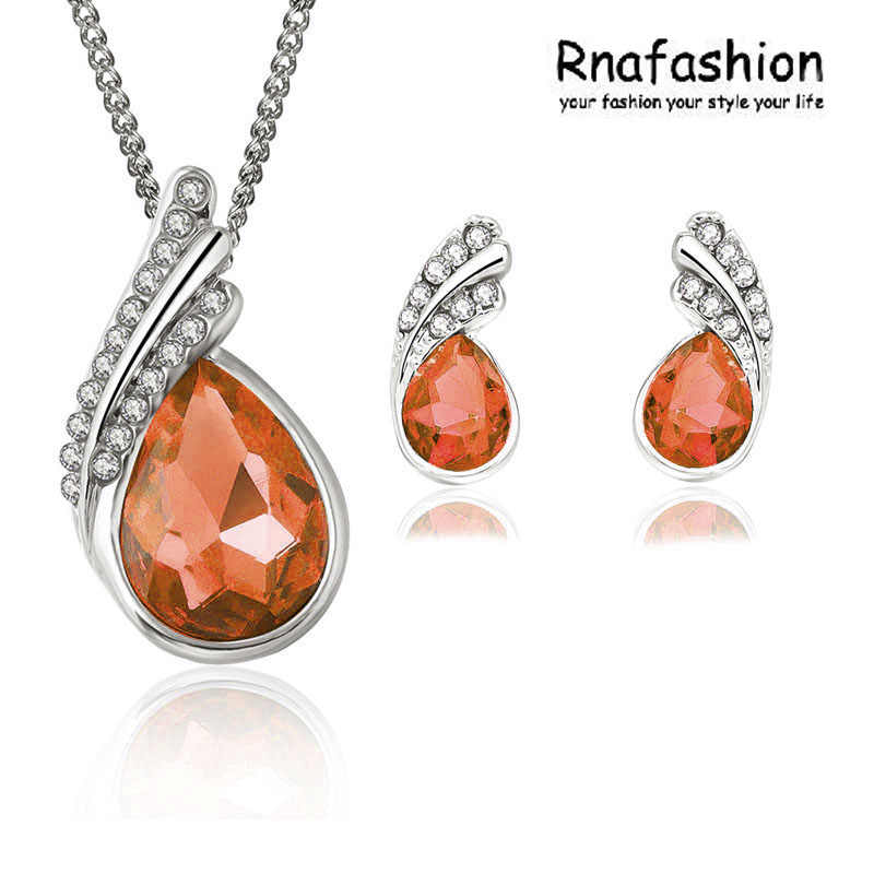 Fashion aksesoris Gadis aksesoris set kristal kalung anting kristal set perhiasan 006
