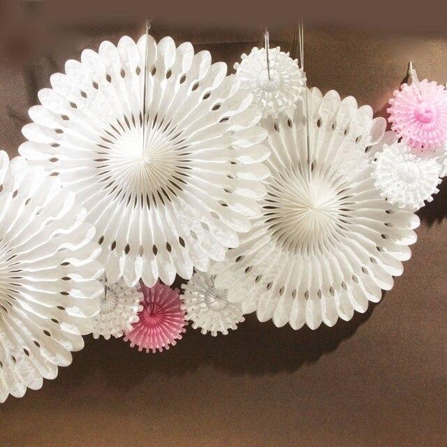 10 cái/bộ Bông Tuyết Mô Giấy Người Hâm Mộ Cut-out Giấy Trang Trí Pinwheel cho Đám Cưới Sinh Nhật Tắm Lãng Mạn Trang Trí Nội Thất