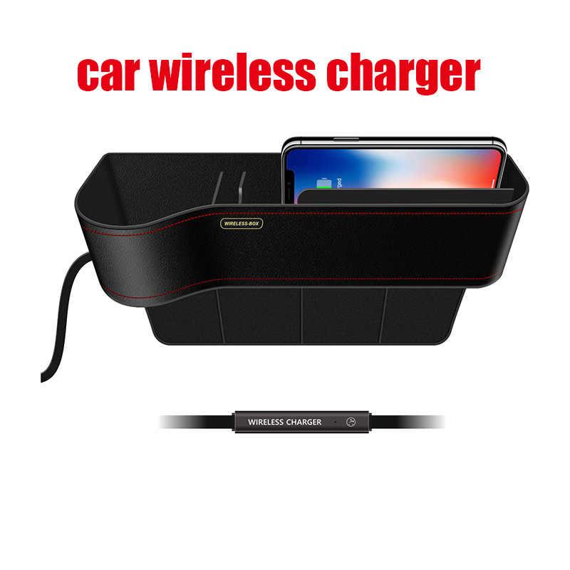 10 W Qi Wireless Charger Station Penyimpanan Kotak Case untuk Iphone Nirkabel Cepat Pengisian Mobil Ponsel Holder untuk Samsung dengan Cepat charger