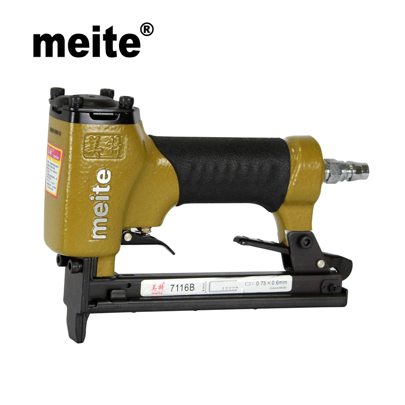 MEITE 7116B 3/8(9.0MM) Crown 22 GA Pneumatic Stapler For Cabinet Air Powerful Nail Gun Staple Air Gun Sep.3rd Update tool 2018 new arrivel genuine leather slip on platform shoes women pumps mixed colors high heels round toe elegant casual shoes l26