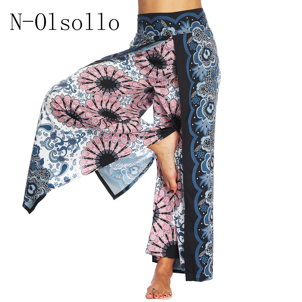 N-olsollo 2018 Novelty 3D Palazzo Fitness Wide Leg Pants Loose Sporting Trousers Workout Irregular Patchwork Complex layer Pants