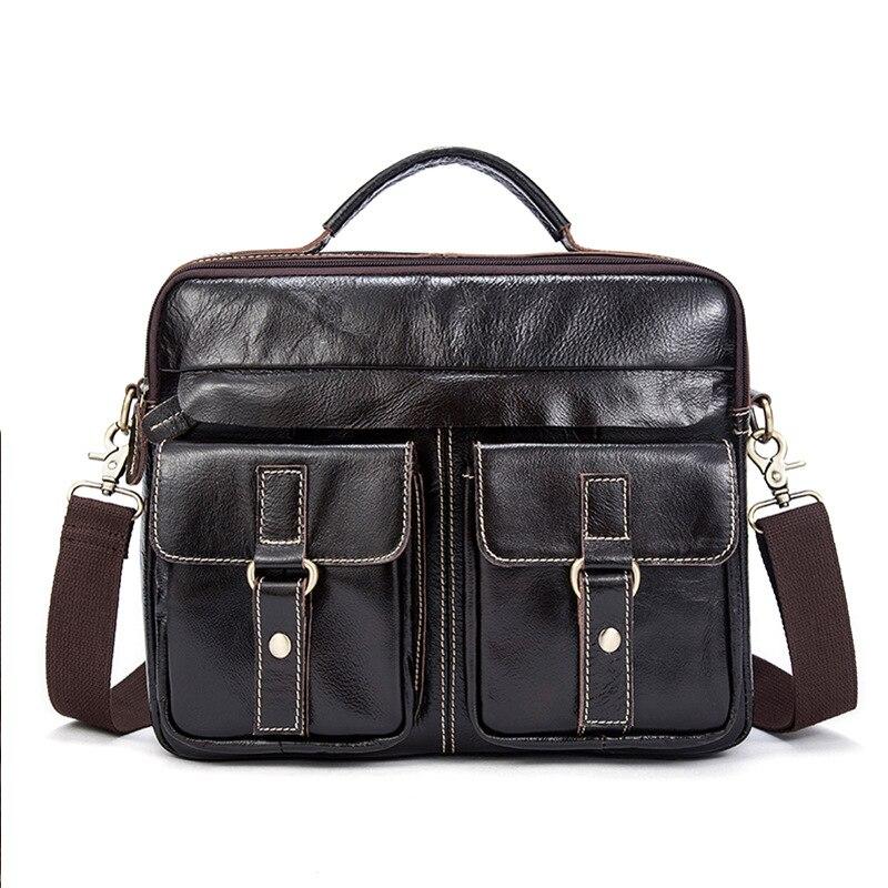 MYOSAZEE Male Genuine Leather Business Bag Men's Handbag Soft Handle 14 Inches Bag