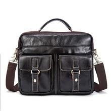 MYOSAZEE Male Genuine Leather Business Bag Mens Handbag Soft Handle 14 Inches