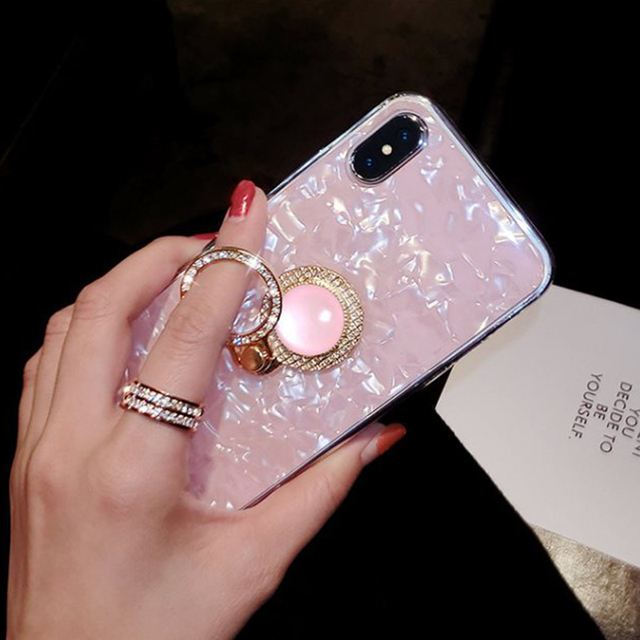 Kerzzil Luxury Bling Shell Phone Case For iPhone X XR Xs Max Girl Diamond  Finger Holder Cover Cases For iPhone 8 7 6 6s Plus 6940aea68621