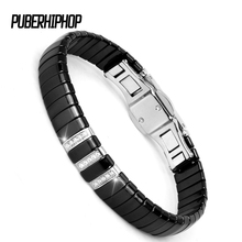 2018 New Fashion Black Charm Ceramic Tungsten Steel Cysytal Link Bracelets for Women with Silver Color