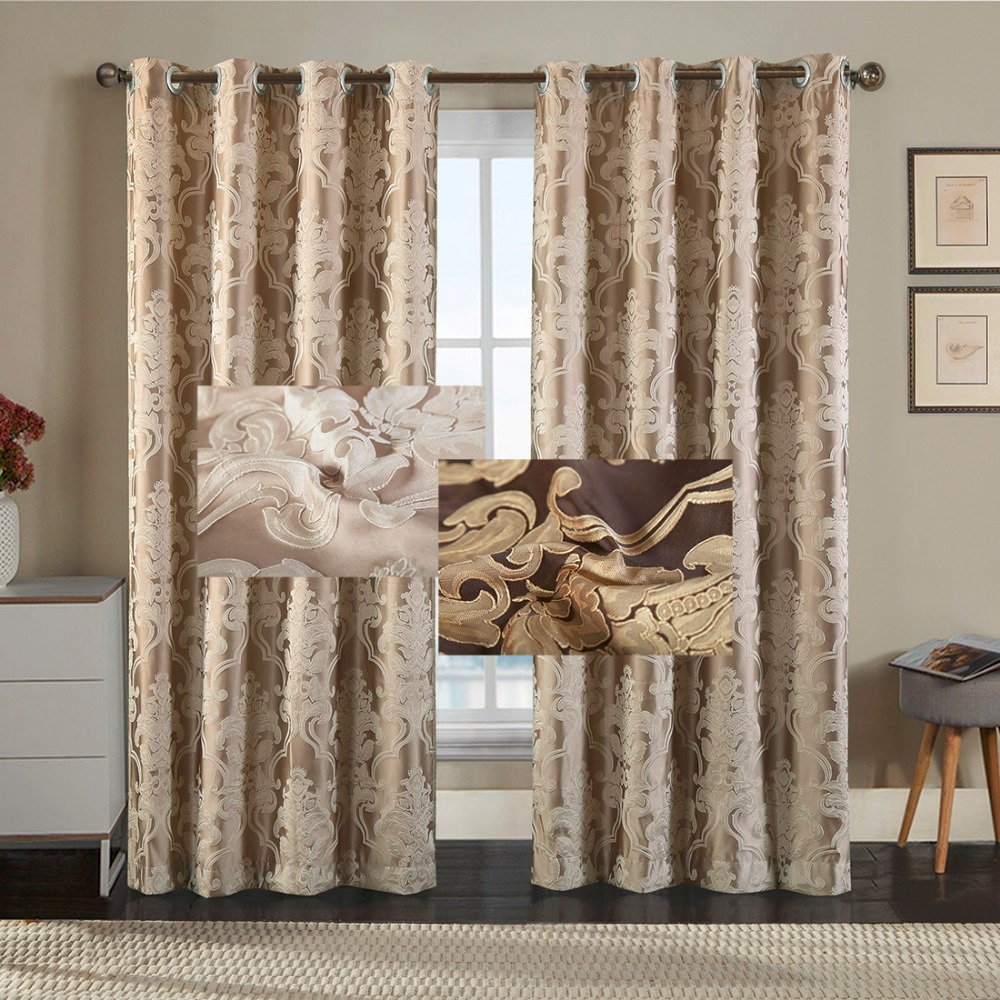 NewEuropean Jacquard Window Curtains Luxury Fabric High Quality GIGIZAZA Light Shading Blinds for Livingroom Floral Beige custom