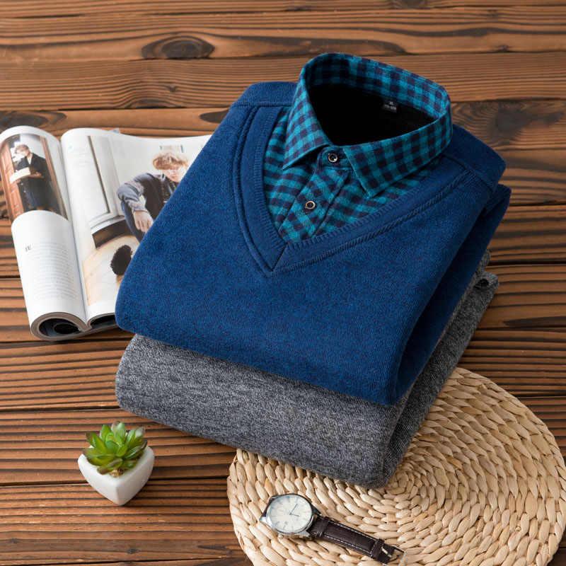 ブランドメンズプルオーバーシャツ男性社会シャツ男性とフリーススーパー暖かい厚手冬シャツ男性プラスサイズ