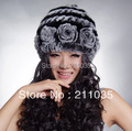 Woman plus size winter bombers rabbit fur  hat female thermal handmade flower stripe winter thickening fur hat