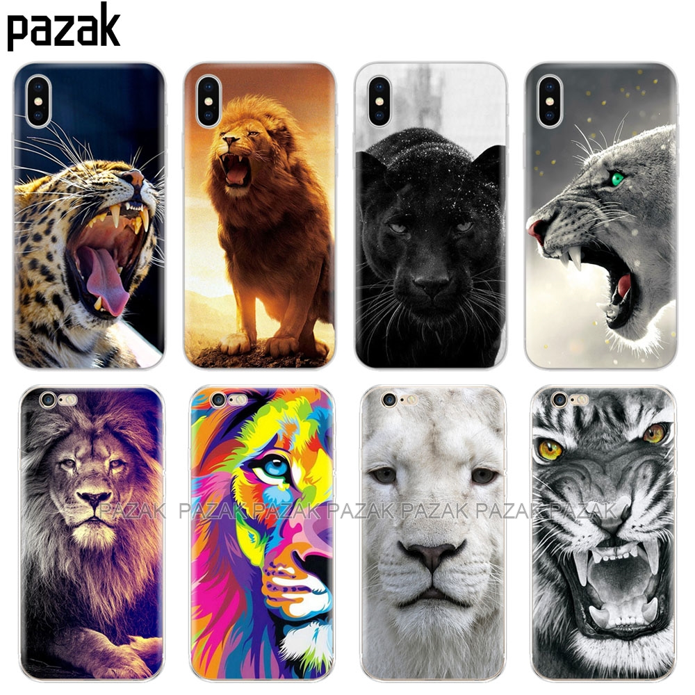 Silicone Cover Phone <font><b>Case</b></font> For <font><b>Iphone</b></font> 6 X 8 7 <font><b>6s</b></font> 5 5s SE 2020 Plus 10 XR XS 11 pro Max <font><b>Case</b></font> tiger <font><b>lion</b></font> bear image
