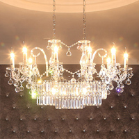 12 arm Wedding Decoration led crystal lighting rectangular crystal chandelier for hotel dining room modern large led Lustre lamp