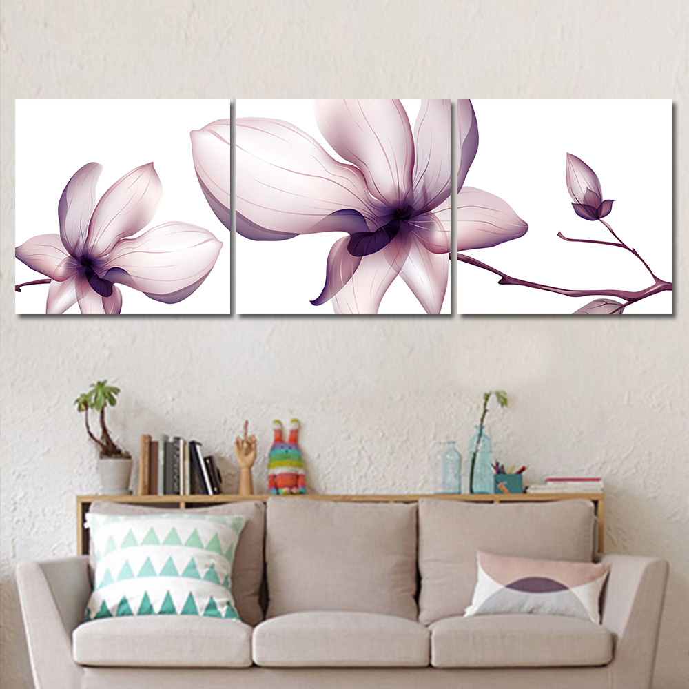 Unframed 3 Pieces Flowers Trees Modular Pictures Posters and Prints Cuadros Wall Art Canvas Painting for Living Room Home Decor