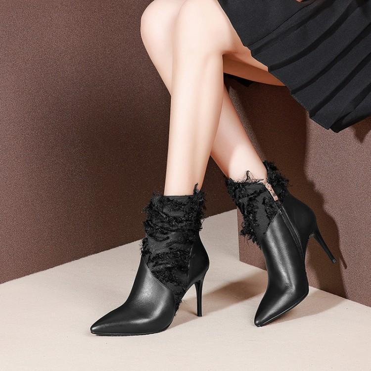 Chaussures Femmes Zip Pour Chic En Noir Cheville Dames Stilettos Sexy Côté Bottines Pointu Dentelle Bottes Bout Dame Hauts Talons Patchwork Cuir nWOS8COwqH
