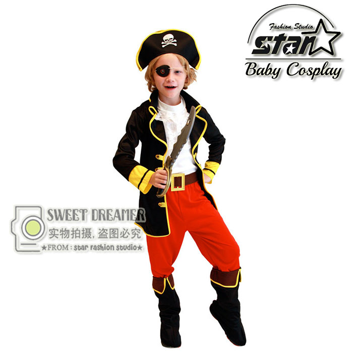 6 Pcs Kids Halloweeen Boys Pirate Costume Classic Pirate Costumes for Children Carnival Holiday Costume Cosplay Suit Game Show halloween costumes for children boys kids cosplay costume fantasia disfraces game uniforms kids clothes set