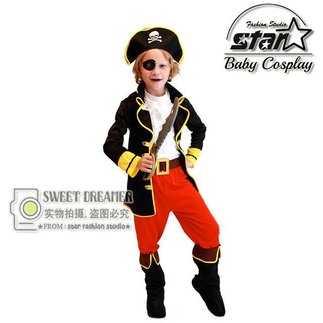 6 Unids Niños Halloweeen Muchachos Pirata Clásico Traje de Carnaval Fiesta De Disfraces Cosplay Traje de Pirata Disfraces para Niños Game Show