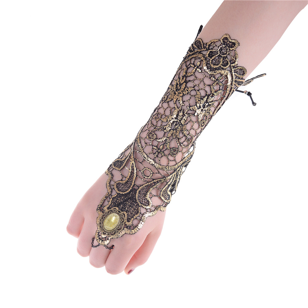 Sexy Women Ladies Steampunk Goth Party Costume Fingerless Ivory Lace Gloves
